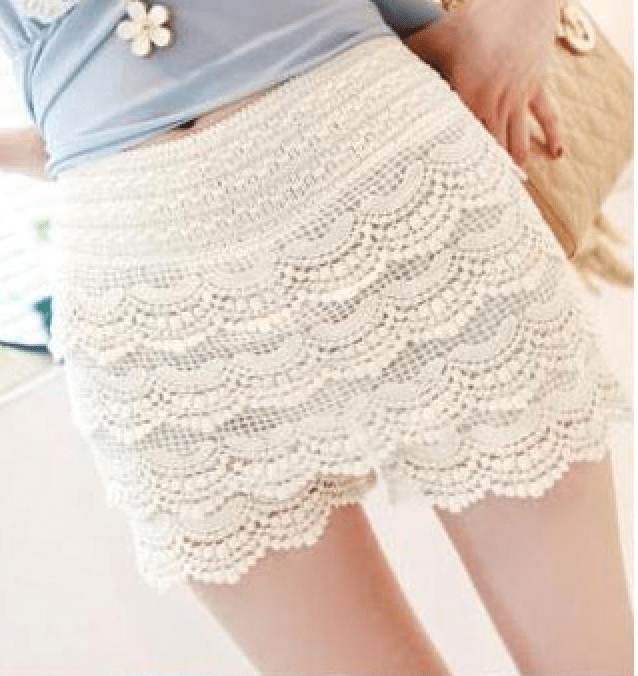 Korean Fashion - Shoes and Clothing - Mini Lace Shorts Skirt - Shorts -  - Gangnam Styles - 3