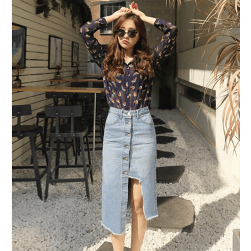 Cropped Denim Skirt Skirt - Korean Fashion