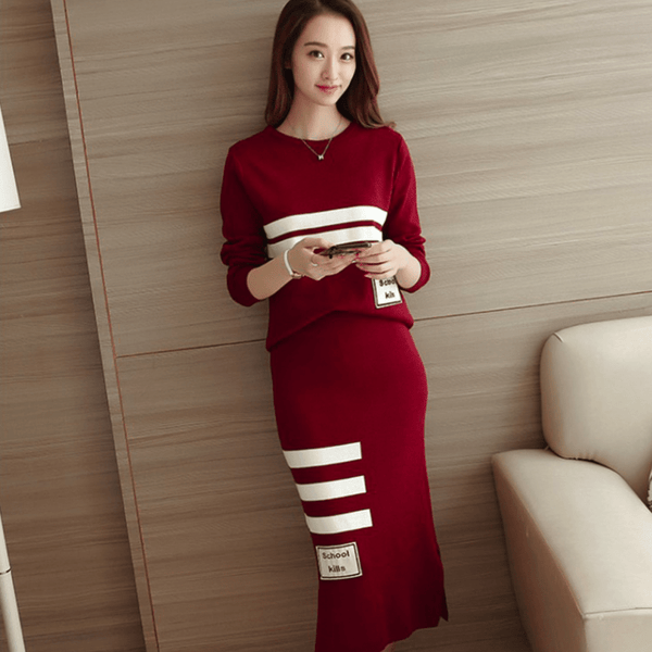 Sweater Midi Skirt Two-Piece