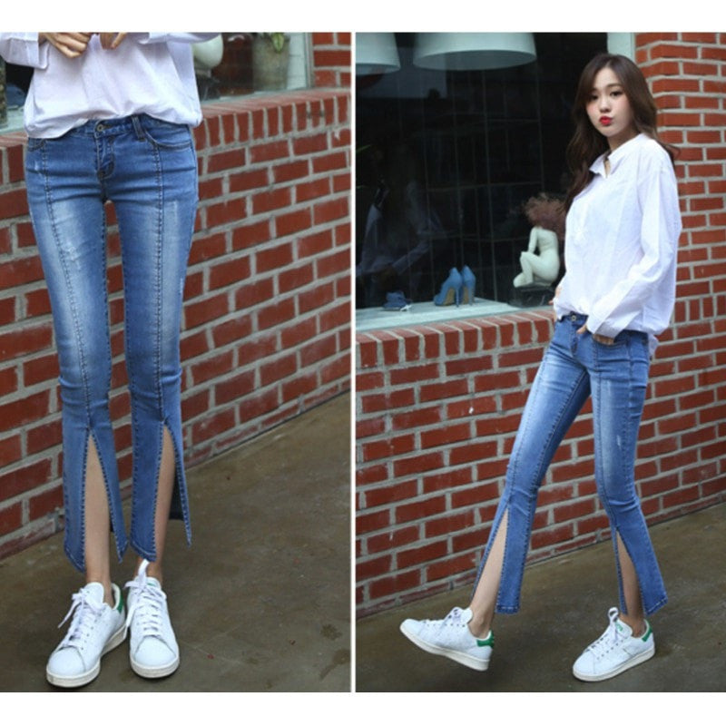 Front Slit Skinny Jeans Jeans - Korean Fashion