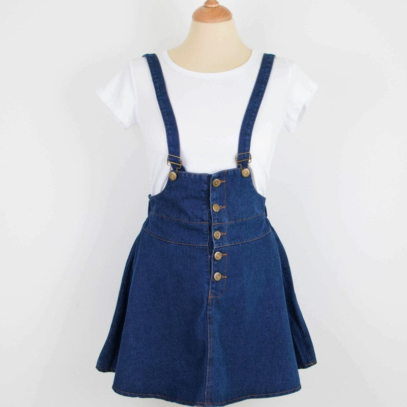 Denim Jumper Skirt w/ Shirt Set Dress - Korean Fashion