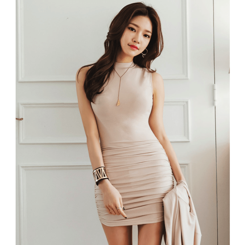 Two-Piece Nude Dress And Cardigan Dress - Korean Fashion
