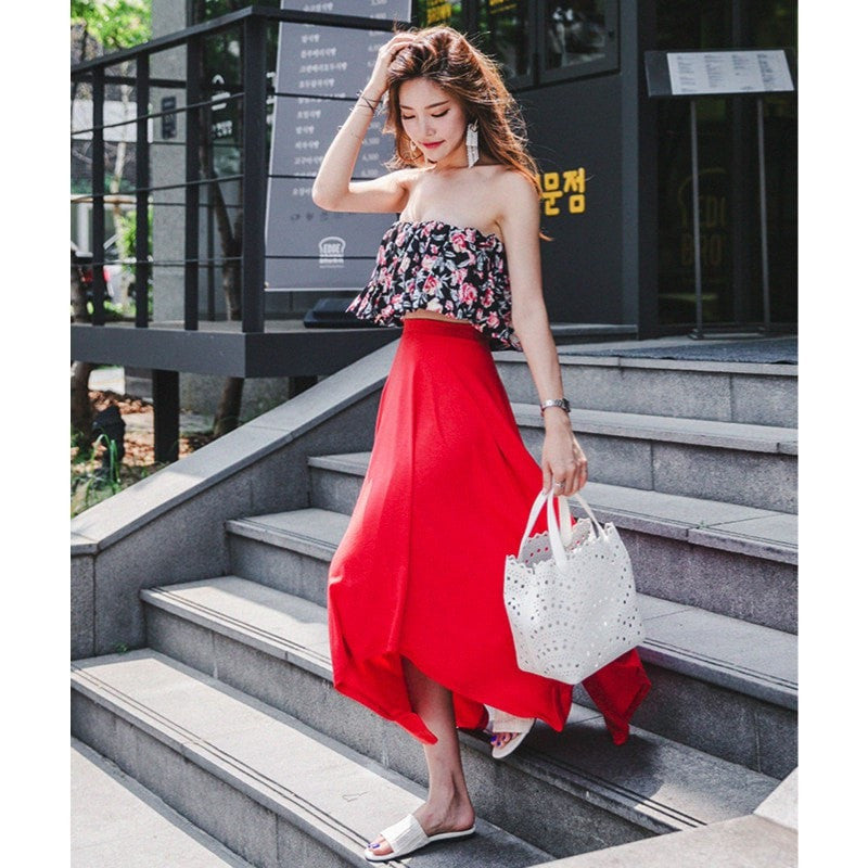 Asymmetrical Skirt with Tube Top Set Dress - Korean Fashion