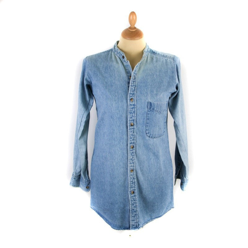 Denim Collarless Long Sleeve Women's Clothing - Korean Fashion