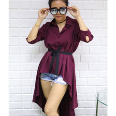 Korean Fashion - Shoes and Clothing - Long Sleeve Long Back Top - Top -  - Gangnam Styles - 3