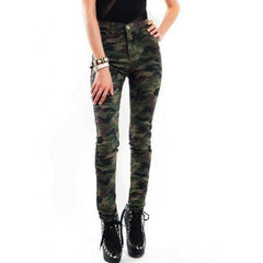 Korean Fashion - Shoes and Clothing - Camouflage High Waisted Jeans - Bottoms -  - Gangnam Styles - 1