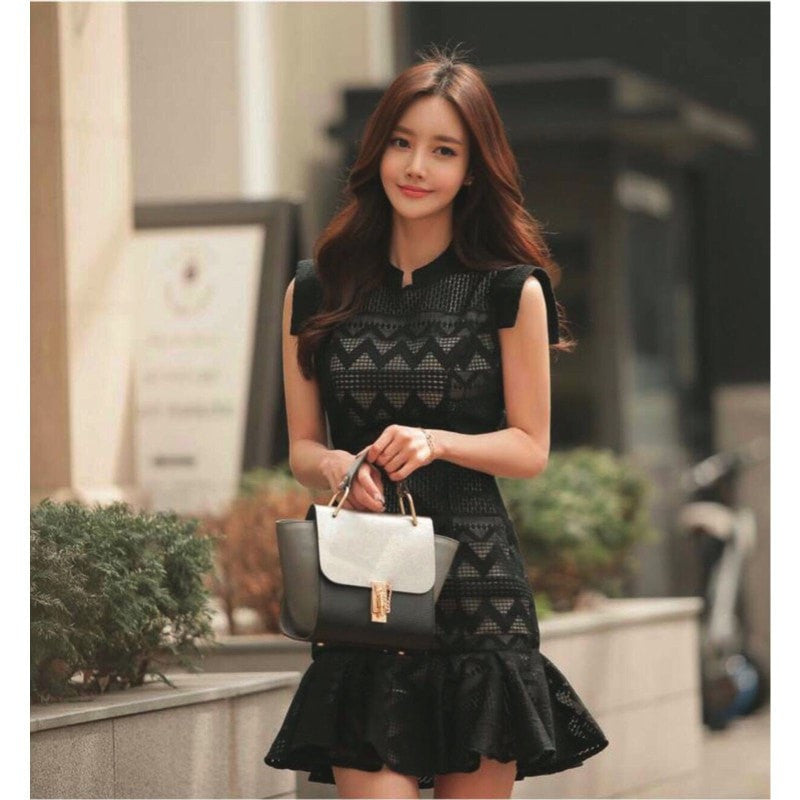 Sleeveless Pattern Dress Women's Clothing - Korean Fashion