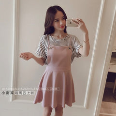 Korean Fashion - Shoes and Clothing - Set Skirt And Stripes Shirt - Dress - Small / Pink - Gangnam Styles - 1