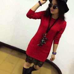 Korean Fashion - Shoes and Clothing - Long Lace Sweater - Dress - Free Size / Red - Gangnam Styles - 1