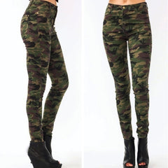 Korean Fashion - Shoes and Clothing - Camouflage High Waisted Jeans - Bottoms - Small / Green - Gangnam Styles - 4