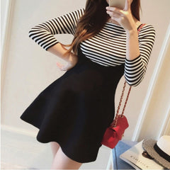 Korean Fashion - Shoes and Clothing - K-Pop Striped Set Dress - Set Dress -  - Gangnam Styles - 1