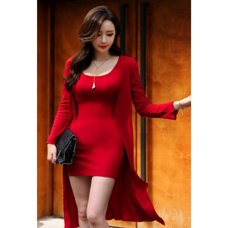 Korean Fashion - Shoes and Clothing - Cardigan Set Dress - Casual Dress - Free Size / Red - Gangnam Styles - 1
