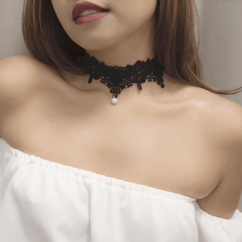 Pearl Drop Lace Choker Necklace