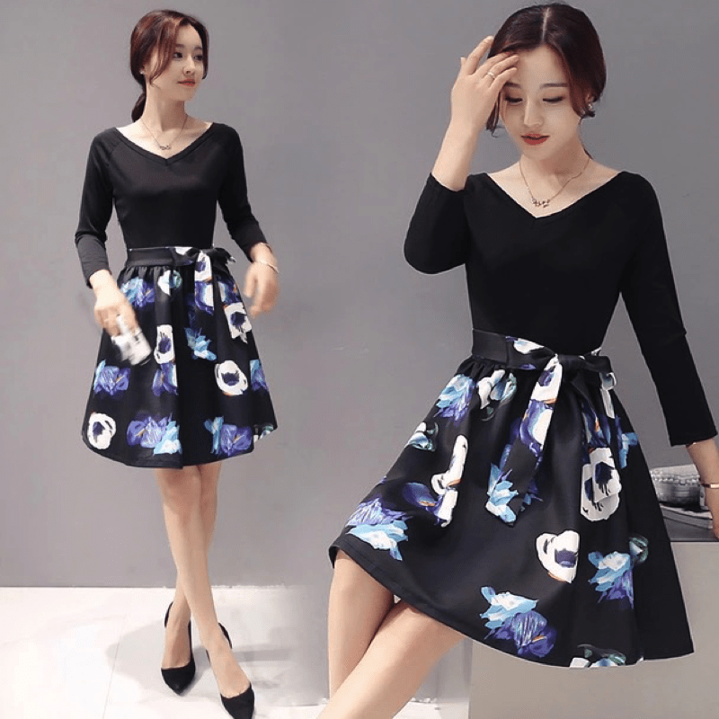 Korean Floral Cocktail Dress Dress - Korean Fashion