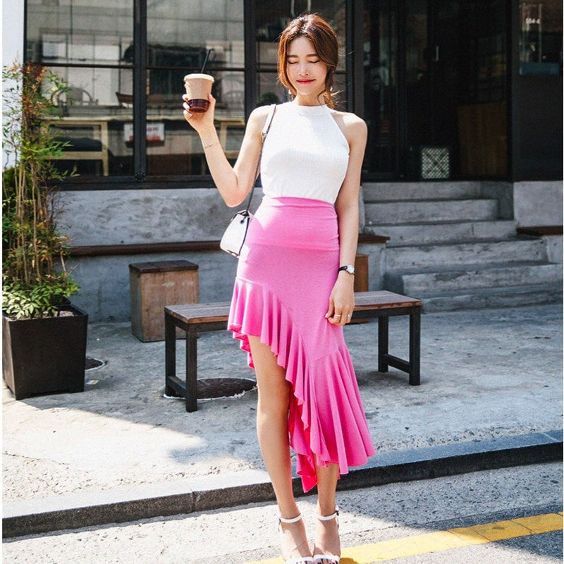 Ruffle Side Skirt with Halter Top Set Dress - Korean Fashion