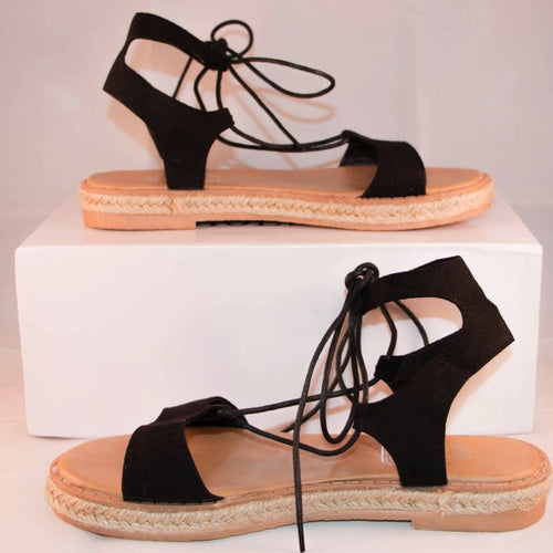 Korean Fashion - Shoes and Clothing - Ribbon Flat Sandals - Sandals -  - Gangnam Styles - 1