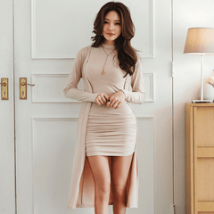 Two-Piece Nude Dress And Cardigan