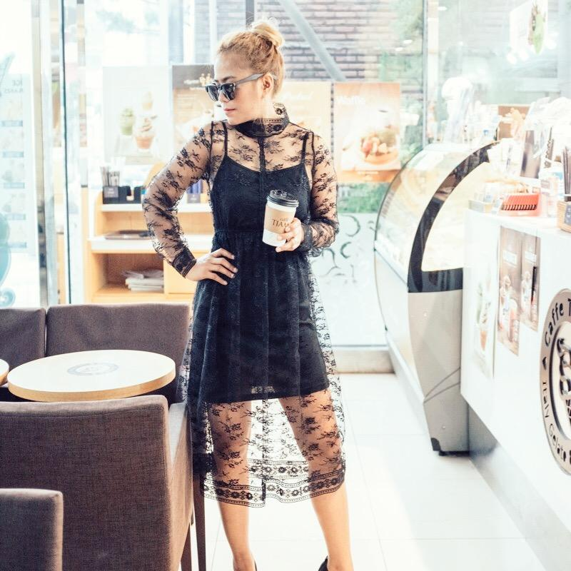 Hollow Transparent Two-Piece Set Dress - Korean Fashion