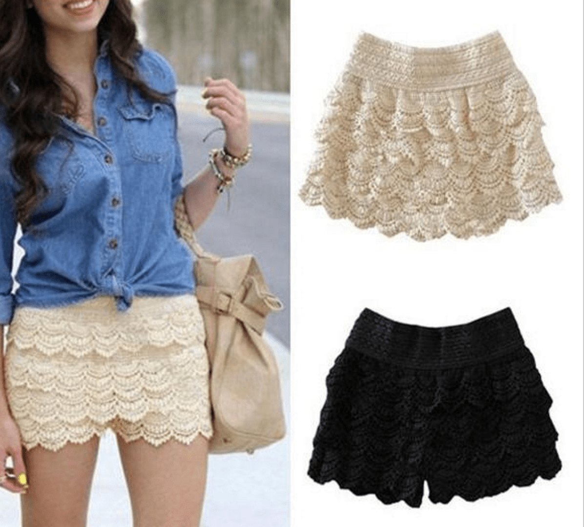 Korean Fashion - Shoes and Clothing - Mini Lace Shorts Skirt - Shorts -  - Gangnam Styles - 7