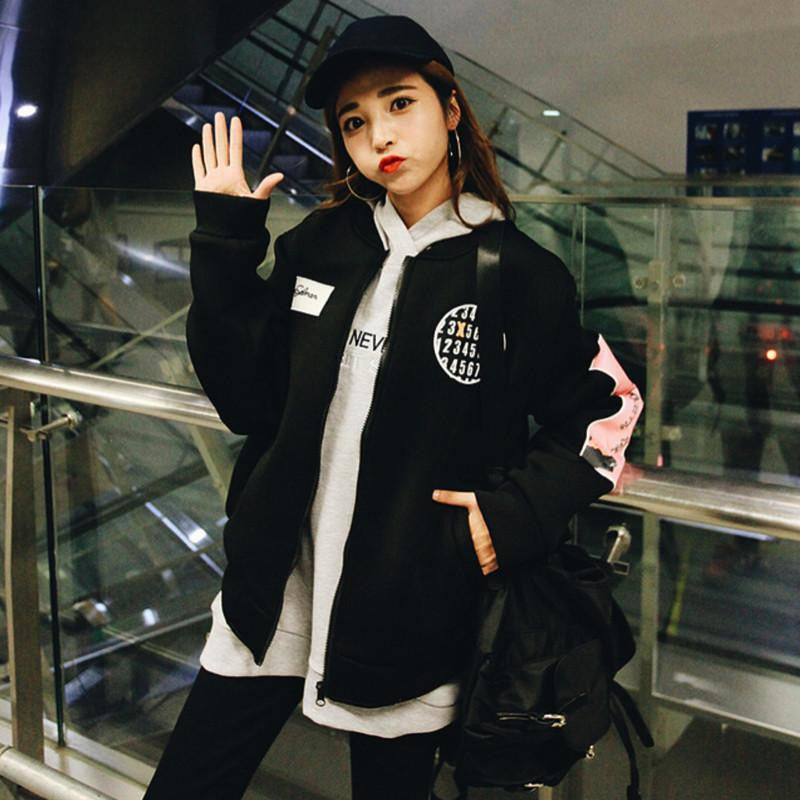 Printed Jacket Jacket - Korean Fashion