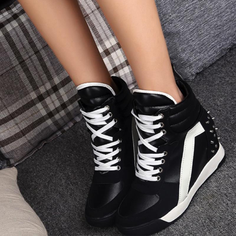 Suede Patent Wedge Sneakers Sneakers - Korean Fashion