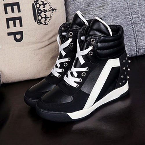 Black Suede Patent Wedge Sneakers - Women's Sneakers - Wedge Shoes
