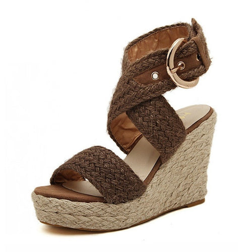Bohemian Wedge Ankle Strap Sandals Wedge Sandals - Korean Fashion