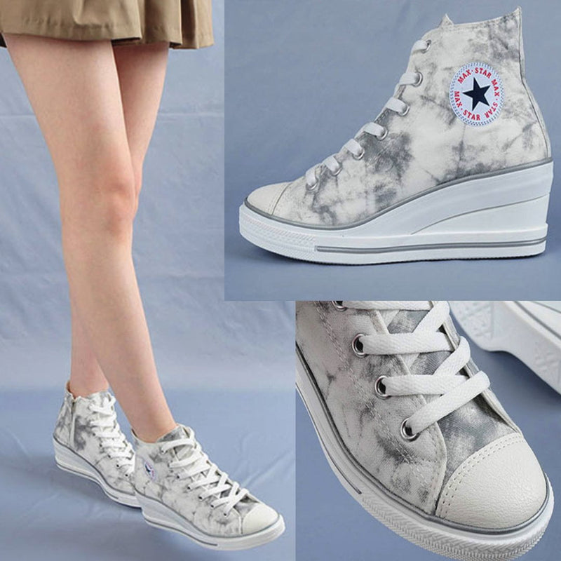 Camouflage High Cut Wedge Sneakers Sneakers - Korean Fashion