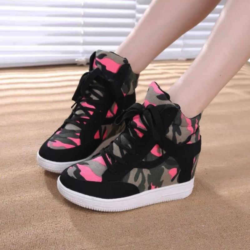 Camouflage Middle Cut Sneakers Sneakers - Korean Fashion