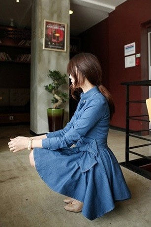 Casual Denim Dress Dress - Korean Fashion