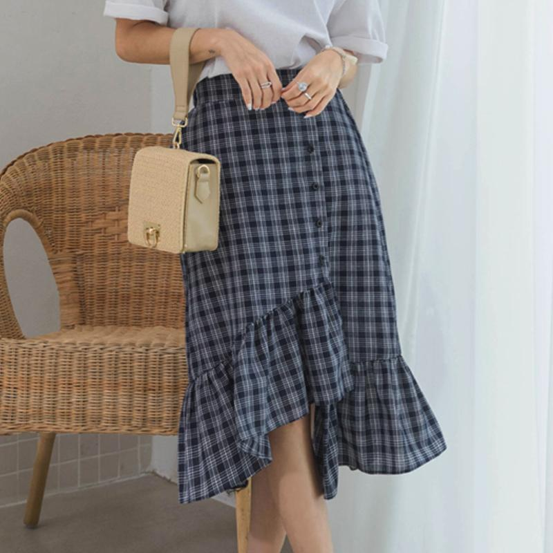 Checkered Up Layered Skirt Skirt - Korean Fashion