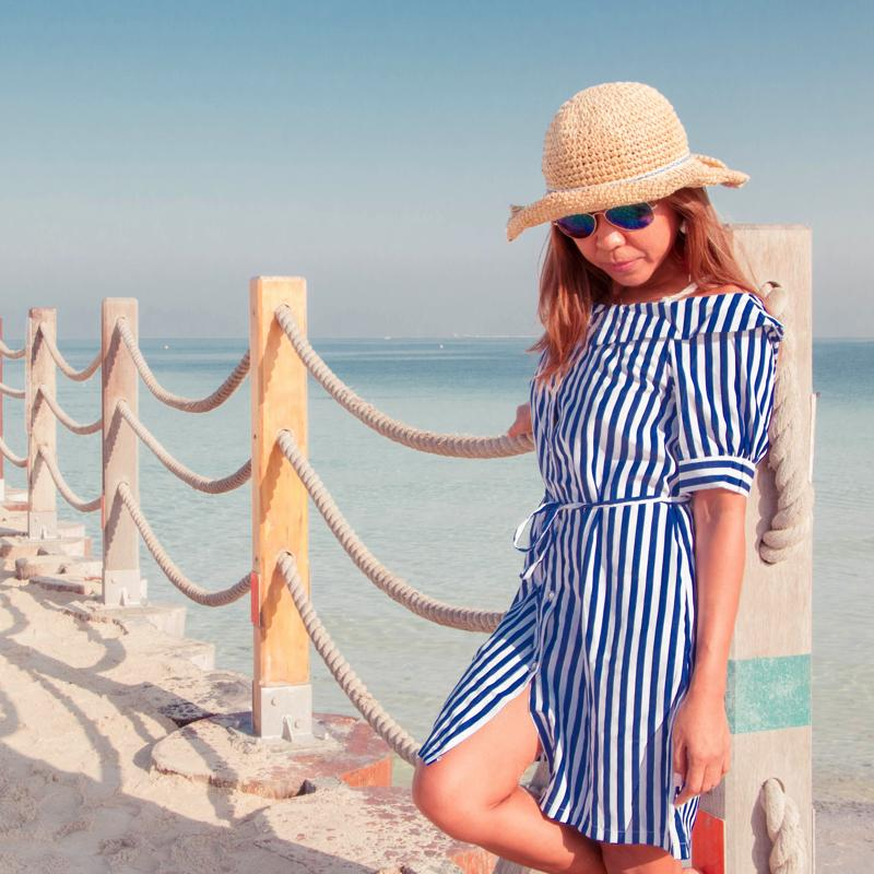 Strap One Piece Stripes Dress Dress - Korean Fashion