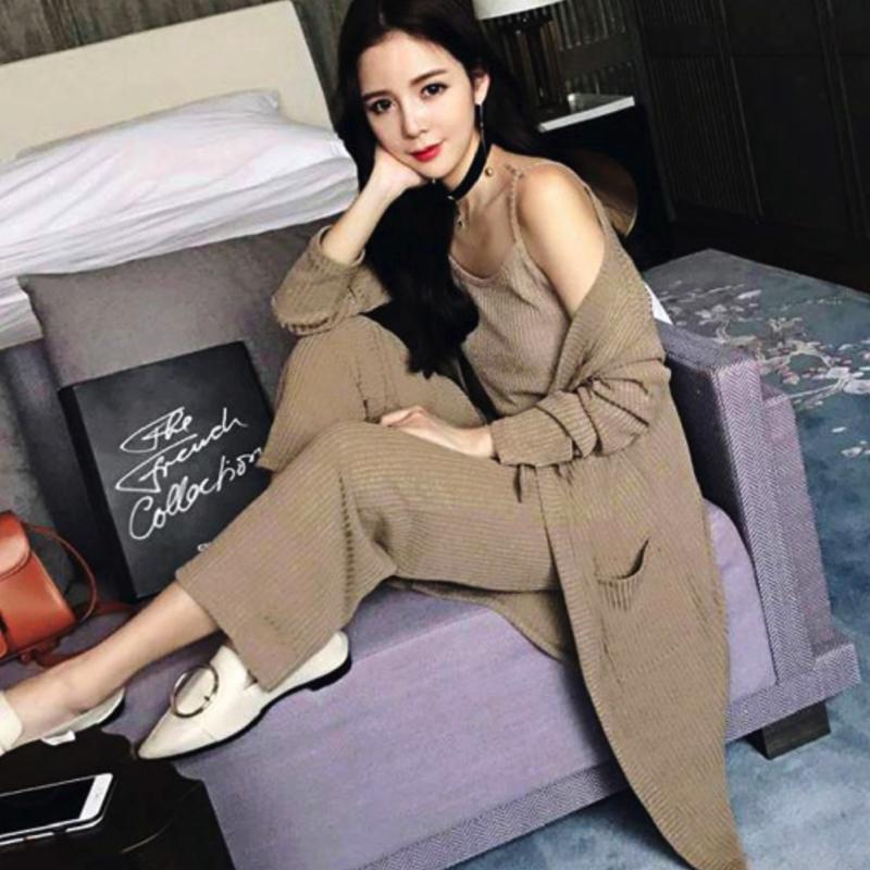 Combo Long Cardigan Set Pants Set Dress - Korean Fashion