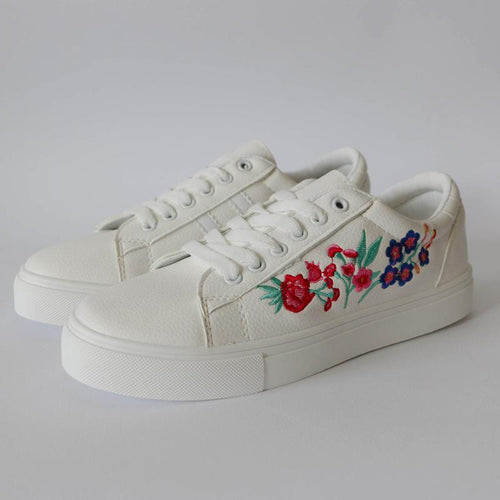 Embroidery Floral Flat Sneakers - Women's Sneakers
