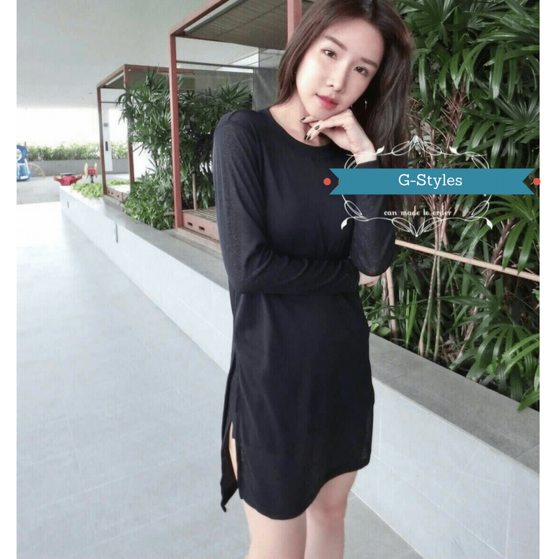 Winter Sided Slit Dress Women's Clothing - Korean Fashion
