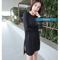 Korean Fashion - Shoes and Clothing - Winter Sided Slit Dress - Top -  - Gangnam Styles - 2
