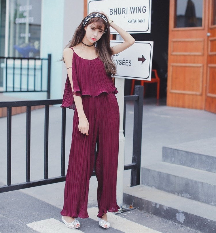Chiffon Jumpsuit Strap Dress Dress - Korean Fashion