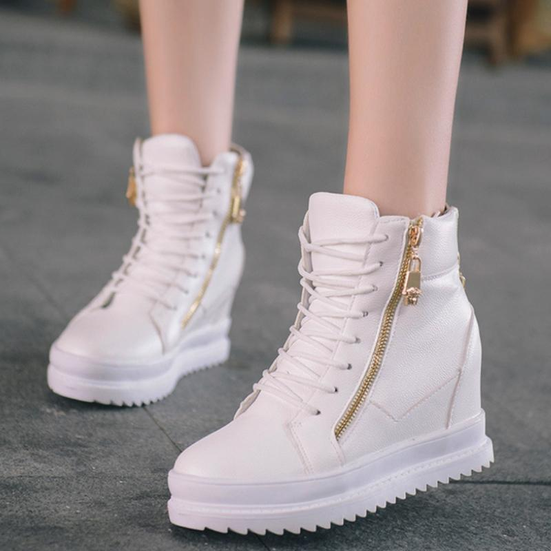 High Cut Zipped Sided Sneakers Sneakers - Korean Fashion