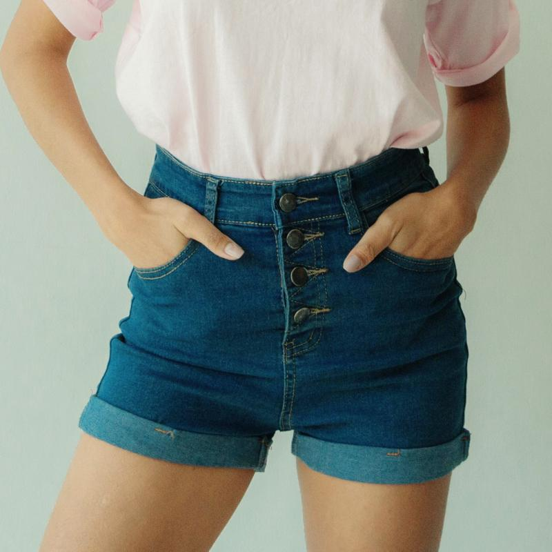 Multi Button High Waist Shorts Shorts - Korean Fashion