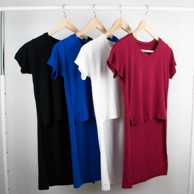 Short Sleeve Long Back T-Shirt Women's Clothing - Korean Fashion