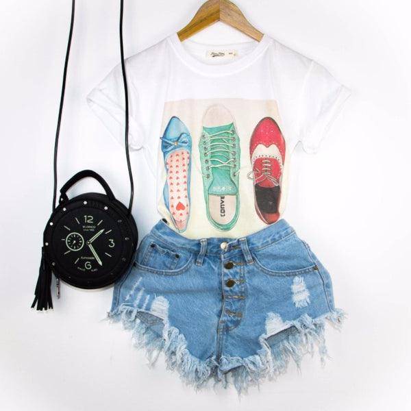 Printed Round Collar T-Shirt