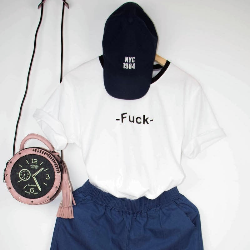 'Fuck' T-Shirt Women's Clothing - Korean Fashion