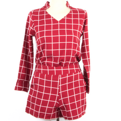 Korean Fashion - Shoes and Clothing - Pattern Set Long Sleeve & Shorts - Dress - Free Size / Red - Gangnam Styles - 3