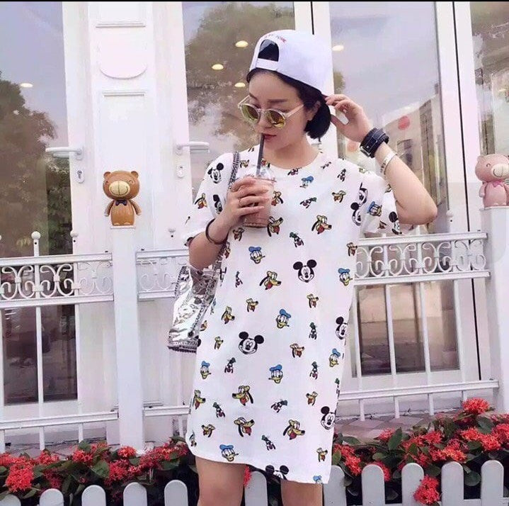 Mickey and Ugly Duck Mini Dress Dress - Korean Fashion