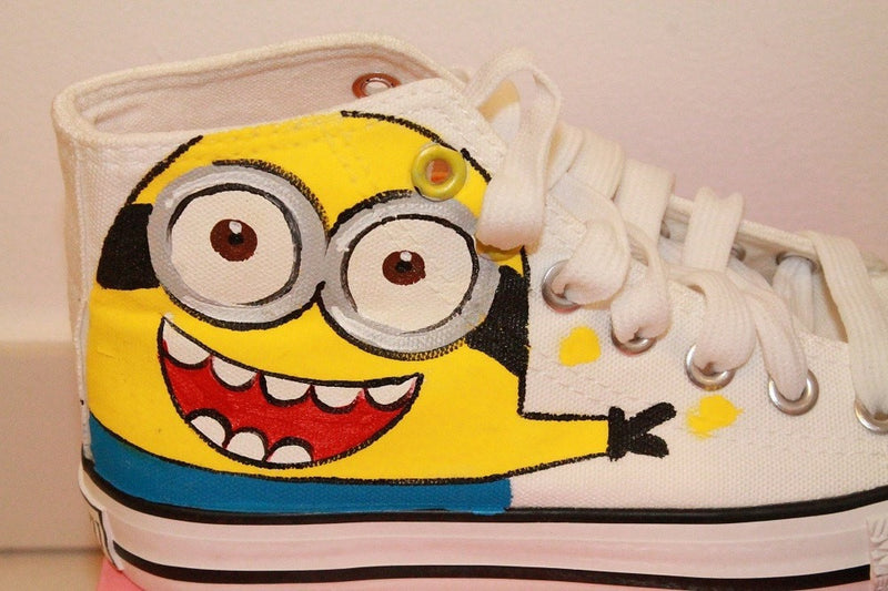 Hand Printed Minion Sneakers Women's Shoes - Korean Fashion