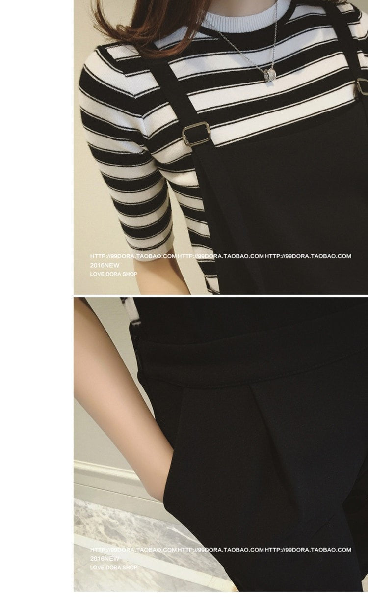 Jumper Pants with Flare Shirt Set Dress - Korean Fashion