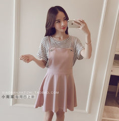 Korean Fashion - Shoes and Clothing - Set Skirt And Stripes Shirt - Dress -  - Gangnam Styles - 6