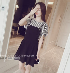 Korean Fashion - Shoes and Clothing - Set Skirt And Stripes Shirt - Dress -  - Gangnam Styles - 4