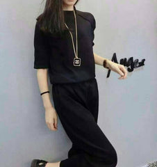 Korean Fashion - Shoes and Clothing - Set Pants And Sweater - Dress - Medium / Black - Gangnam Styles - 3