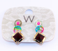 Multicolor Stud Set Earrings Earrings - Korean Fashion